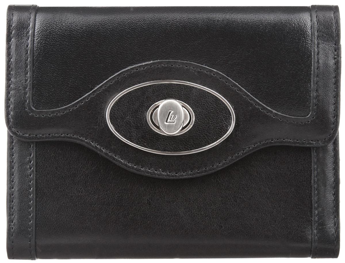 Кошелек женский Leo Ventoni, цвет: черный. L330328-01L330328-01Стильный женский кошелек Leo Ventoni выполнен из натуральной кожи и дополнен металлической фурнитурой. Изделие состоит из двух отделений. Отделение для монет закрывается на металлическую молнию и включает в себя две секции для мелочи, разделенные перегородкой. Отделение для купюр раскладывается и закрывается клапаном на застежку-вертушку, оформленную символикой бренда. Внутри - три отделения для купюр, четыре кармашка для визиток, два боковых кармана для мелочей и карман с прозрачным пластиковым окошком. Изделие поставляется в фирменной коробке с логотипом бренда. Стильный кошелек Leo Ventoni станет отличным подарком для человека, ценящего качественные и практичные вещи.