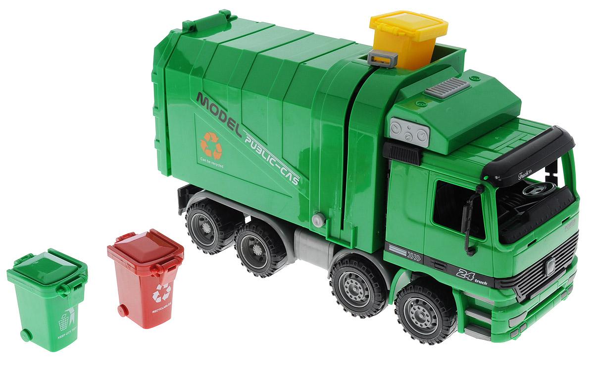 Junfa Toys Мусоровоз инерционный9998-17Инерционный мусоровоз Junfa Toys - это яркая машина, которая порадует любого мальчишку. Игрушка отлично подойдет для сюжетно-ролевых игр. Машина является уменьшенной копией настоящего мусоровоза. Модель не только хорошо проработана, но также функциональна и оснащена инерционным механизмом. Нужно немного подтолкнуть машину и отпустить - она самостоятельно поедет в ту же сторону. Кузов мусоровоза поднимается, задний люк контейнера открывается. Кузов оснащен подъемным механизмом для мусорного бака. В комплекте с мусоровозом идут 3 мусорных бака.