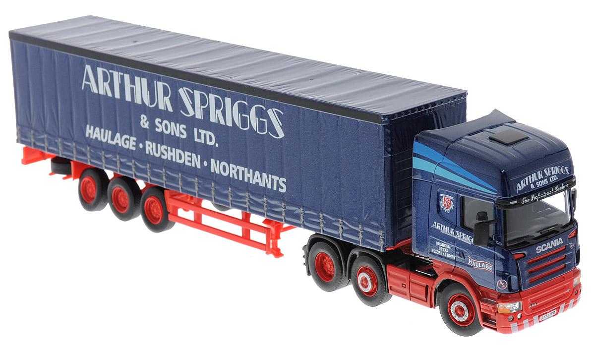 Cararama Модель автомобиля Scania Topline Truck цвет синий569_синийМодель автомобиля Cararama Scania Topline Truck привлечет внимание не только ребенка, но и взрослого. Трейлер является точной уменьшенной копией настоящего трейлера Scania Topline Truck, предназначенного для перевозки груза. Грузовик оборудован открывающимся кузовом и прорезиненными колесами, в том числе двумя запасными. Кузов грузовика можно отцеплять. Игрушка в точности повторяет модель оригинальной техники, подробная детализация в полной мере позволит вам оценить высокую точность копии этой машины! Модель автомобиля Cararama Scania Topline Truck будет отлично смотреться в качестве оригинального подарка не только любителю автомобилей, но и человеку, ценящему стиль и изысканность, а качество исполнения представит такой подарок в самом лучшем свете.
