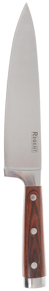 Нож поварской Regent Inox Nippon, длина лезвия 20 см93-KN-NI-1Поварской нож Regent Inox Nippon изготовлен из высококачественной нержавеющей стали. Острое прочное кованое лезвие ножа имеет ровную поверхность и выверенный угол заточки. Специальная закалка металла обеспечивает повышенную прочность. Сбалансированность ножа обеспечивает приложение минимальных усилий при резке. Лезвие ножа не впитывает запахи и не оставляет запаха на продуктах. Оригинальная и практичная ручка выполнена из пакка. Пакка - это слоистый пластик, главными составляющими которого является какая-либо ценная древесина, служащая основой и фенольная смола, которая служит наполнителем материала. Нож с тяжелой ручкой, толстым, широким и длинным лезвием с центральным острием. Все это позволяет легко рубить капусту, овощи, зелень, резать замороженное мясо, рыбу и птицу. Такой нож займет достойное место среди аксессуаров на вашей кухне.