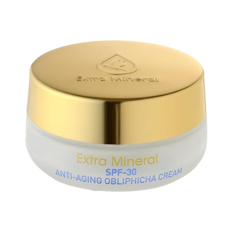 Extra Mineral Крем против старения кожи с экстрактом облепихи SPF-30, 50 млEXM1700Антивозрастной крем с облепихой SPF-30 Extra Mineral. Уникальный по своим омолаживающим характеристикам крем, созданный с использованием технологии Unimoist U-125, которая обеспечивает высокую степень защиты от возрастных изменений. Данная технология обеспечивает экстра-увлажнение кожи, формирует мощный защитный антивозрастной барьер и высоко эффективно защищает кожу от солнечных лучей. Смесь 26 минералов Мертвого моря, экстракта Облепихи, витамина В5, витамина «красоты» Е, полиненасыщенных жирных кислот Омега 3, Омега 6, Омега 9 настолько эффективно воздействует на кожу, активизируя процессы регенерации, клеточного обмена, что у кожи появляется эффект «сияния», а положительные изменения, которые происходят буквально сразу после первого применения, можно назвать просто волшебством.