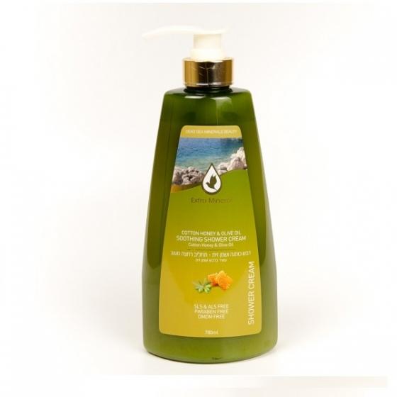 Extra Mineral Крем для душа с медом и оливковым маслом 780 млEXM1903Увлажняющий крем для душа с медом и оливковым маслом Extra Mineral. Сочетание минералов Мертвого моря, меда, мультивитаминного комплекса, полиненасыщенных жирных кислот Омега 3, Омега 6 и Омега 9 совместно с «жидким золотом», как называли древние греки оливковое масло, оказывает мощное омолаживающее воздействие на клетки кожи. Уникальный по своим омолаживающим характеристикам крем для душа, обеспечивает активное увлажнение кожи, формирует мощный защитный антивозрастной барьер и высоко эффективно защищает кожу от солнечных лучей. Крем обладает сильным омолаживающим, регенерирующим, заживляющим, противовоспалительным, увлажняющим свойствами. Содержит большое количество естественных антиоксидантов. Идеально подходит для чувствительной кожи, смягчает кожу. Большое количество естественных антиоксидантов и витамина «красоты» Е помогает лучше усваивать витамины А,D, К и препятствует увяданию клеток кожи. Тонус кожи заметно повышается. Высокая концентрация олеиновой кислоты нормализует...