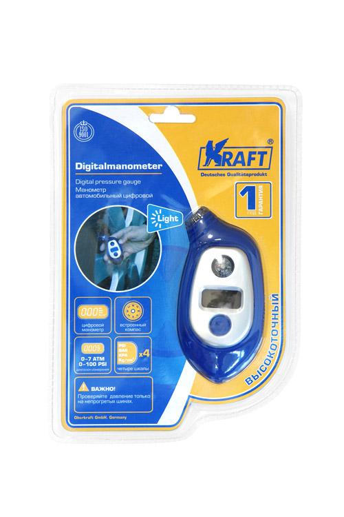 Манометр Kraft цифровойКТ 830004Пластиковый корпус. Цифровой. 4 шкалы измерения.