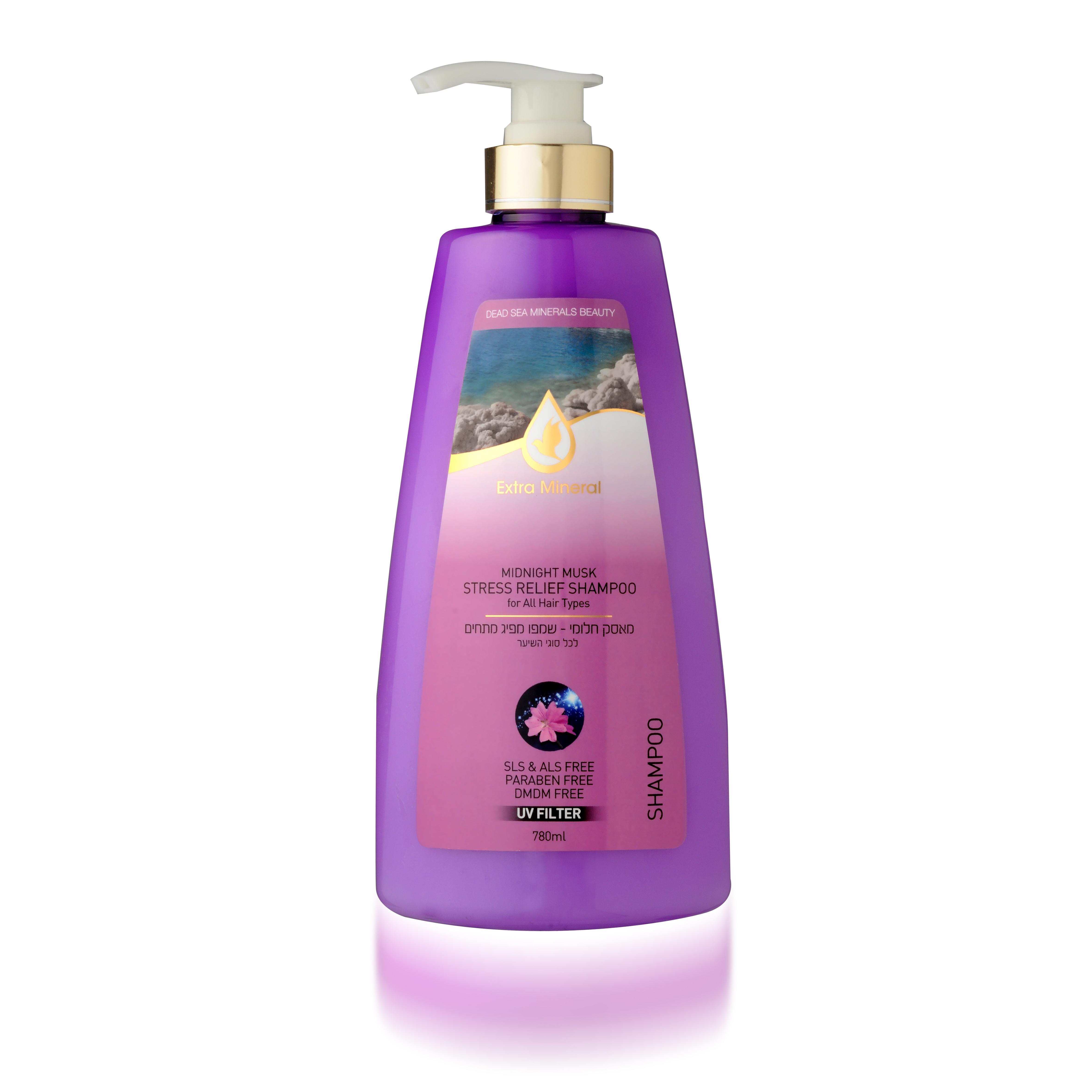 Extra Mineral Шампунь для всех типов волос антиистрессовый с полночным мускусом 780 млEXM2003Шампунь Extra Mineral с полночным мускусом, антистрессовый. Обогащен минералами Мертвого моря. Содержит полночный мускус, масло сладкого миндаля, витамин Е, минералы Мертвого моря. В составе содержит UV-фильтр, который защищает волосы от ультра-фиолетовых лучей, очищает волосы от соли, хлора и песка, восстанавливает баланс кожи головы. Волшебное сочетание активных натуральных компонентов благотворно влияет на волосы и кожу головы, волосы увлажняются и питаются, становятся шелковистыми. Нежная легкая пена дает ощущение свежести. Вы сразу почувствуете, как волосы начинают дышать, а изысканный аромат миндального масла и полночного мускуса не оставит вас равнодушным! Благодаря активному действию минералов Мертвого моря волосы насыщаются необходимыми минералами, волосы оздоравливается, улучшается их внешний вид; улучшается клеточный метаболизм кожи головы и лица, стимулируется синтез белка, повышается регенерация клеток. Минералы обладают сильными антиаллергенными свойствами и являются...