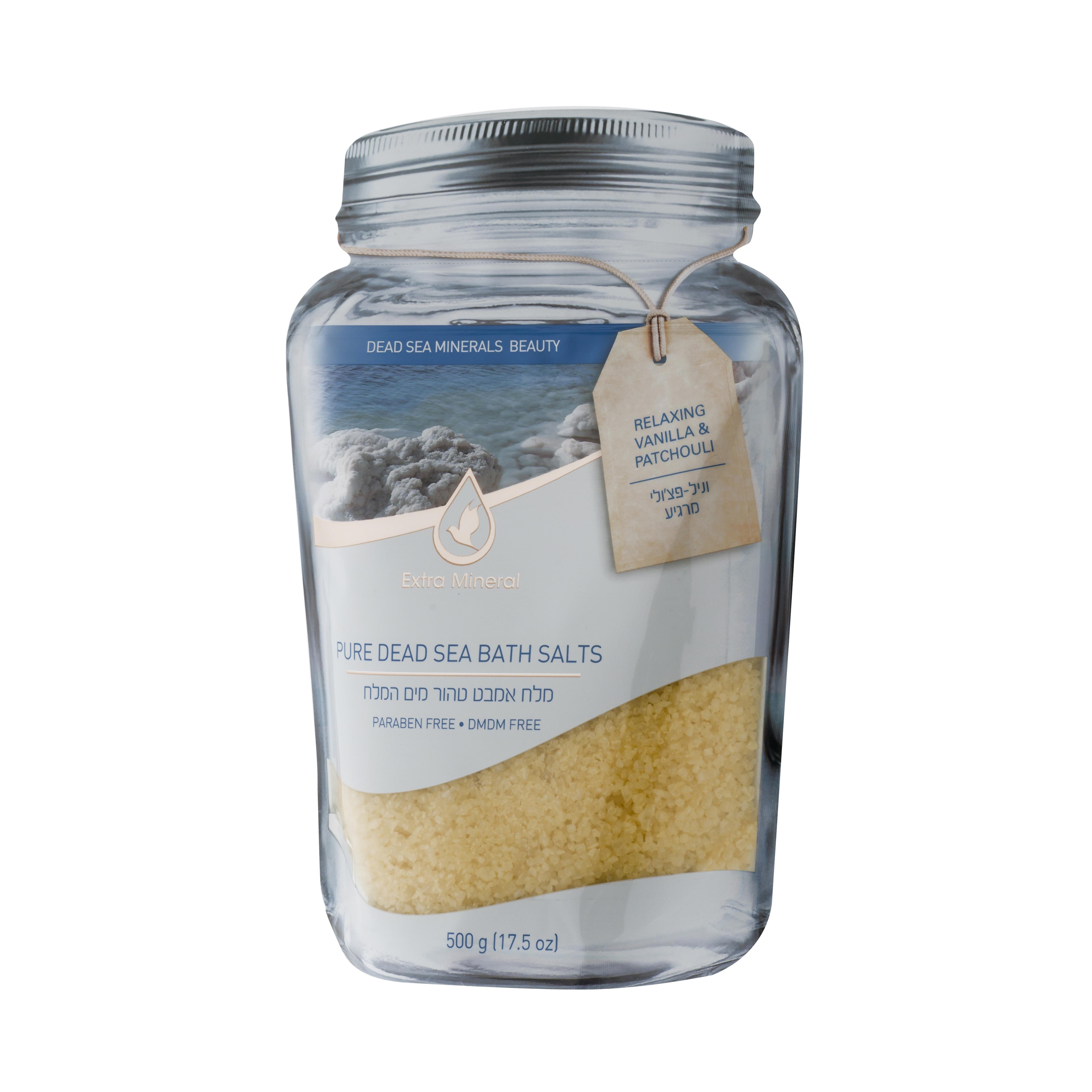 Extra Mineral Соль Мертвого моря, раслабляющая. Ваниль и пачули 500 гEXM2300Соль Мертвого моря Extra Mineral расслабляющая для ванн. Ваниль и пачули. 100% соль Мервого моря, обогащенная минералами Мертвого моря с легким ароматом ванили. Благотворно влияет на кожу и организм в целом, питая кожу минералами Мертвого моря, снимая напряжение в мышцах. Позвольте себе испытать ощущение полного расслабления на волшебном берегу Мертвого моря. Уникальная упаковка позволяет открывать и закрывать тубу многократно, сохраняя полезные свойства и аромат соли Мертвого моря Extra Mineral.