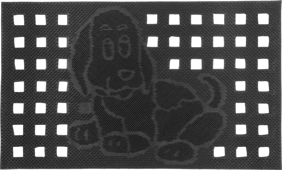 Коврик придверный SunStep Собака, 75 х 45 см31-047Придверный коврик SunStep Собака, выполненный из резины, прост в обслуживании, прочный и устойчивый к различным погодным условиям. Его основа предотвращает скольжение по гладкой поверхности и обеспечивает надежную фиксацию. Такой коврик защитит помещение от уличной пыли и грязи.