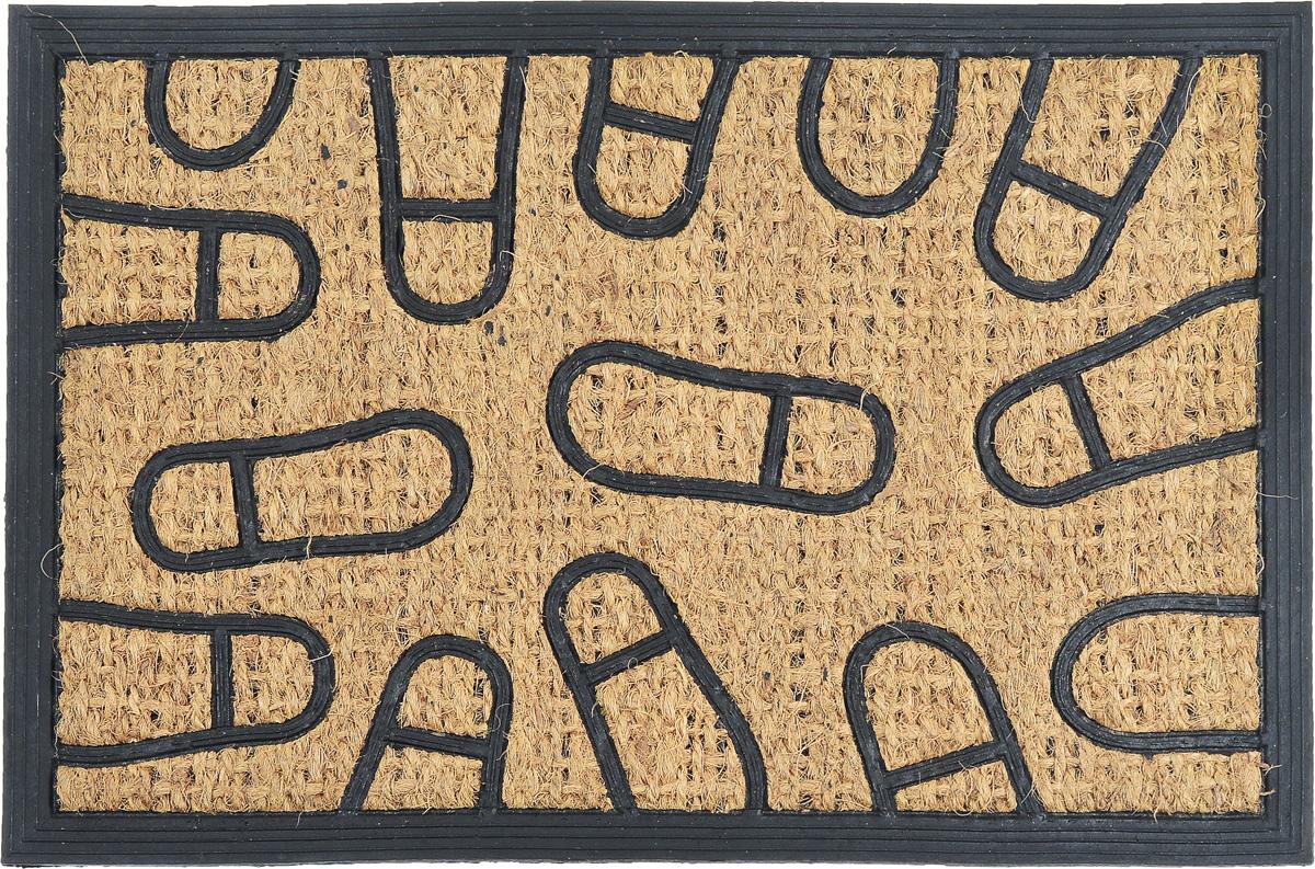 Коврик придверный SunStep Следы, 60 х 40 см32-081Оригинальный придверный коврик SunStep Следы надежно защитит помещение от уличной пыли и грязи. Он изготовлен из жесткого кокосового волокна и нескользящей резиновой основы. Волокна кокоса не подвержены гниению и не темнеют, поэтому коврик сохранит привлекательный внешний вид на долгое время.