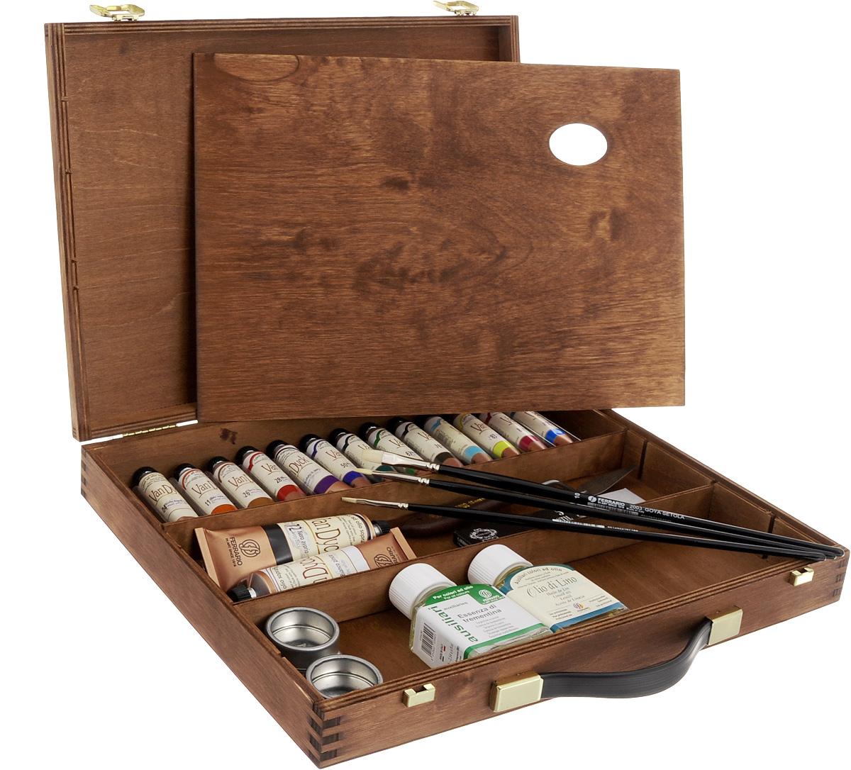 Набор масляных красок Ferrario Van Dyck, в деревянном кейсе, 24 предметаAV1122COНабор Ferrario Van Dyck включает 15 тюбиков масляных красок разных цветов, флакон с льняным маслом и флакон с разбавителем (эссенция терпентина), двойную металлическую масленку, деревянную палитру, 3 кисти №6, № 2, №10, мастихин, набор углей для рисования. Для хранения предметов набора предусмотрен деревянный кейс. Масляные краски рекомендуется использовать на холсте, картоне, бумаге и дереве. Основой масляных красок служат натуральные пигменты и хороший связующий материал, что создает удивительную чистоту цветов и оттенков, которая не теряется даже при смешивании. Краски обладают отличной светостойкостью, имеют повышенное содержание и отличное качество натуральных и синтетических пигментов. Такой набор станет замечательным подарком для художника. Объем красок: 20 мл. Объем белой и черной красок: 60 мл. Длина кистей: 29,5 см, 30 см, 30,5 см. Объем растворителя и масла: 75 мл. Длина мастихина: 21 см. Размер рабочей части...