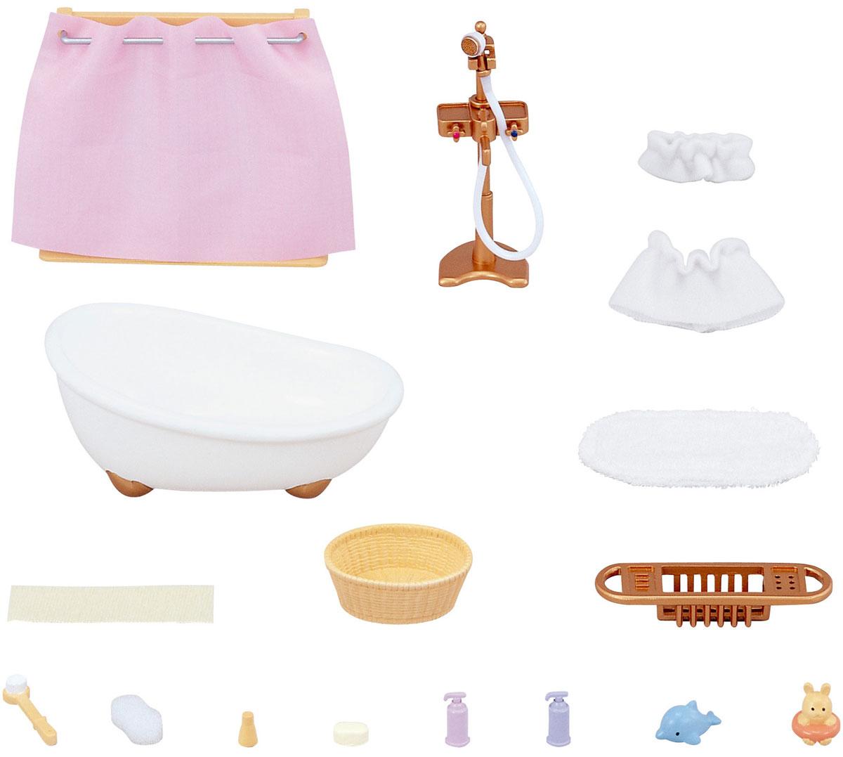 Sylvanian Families Игровой набор Ванная комната с душем3562Игровой набор Sylvanian Families Ванная комната, мини привлечет внимание вашей малышки и не позволит ей скучать. С помощью него она сможет оборудовать ванную комнату в домике Sylvanian Families. Набор включает в себя ванну, стойку со шторкой, коврик, тазик, банные принадлежности и различные аксессуары ванной комнаты. Ваша малышка будет часами играть с набором, придумывая различные истории. Sylvanian Families - это целый мир маленьких жителей, объединенных общей легендой. Жители страны Sylvanian Families - это кролики, белки, медведи, лисы и многие другие. У каждого из них есть дом, в котором есть все необходимое для счастливой жизни. В городе, где живут герои, есть школа, больница, рынок, пекарня, детский сад и множество других полезных объектов. Жители этой страны живут семьями, в каждой из которой есть дети. В домах Sylvanian Families царит уют и гармония. Домашние животные радуют хозяев. Здесь продумана каждая мелочь, от одежды до мебели и...