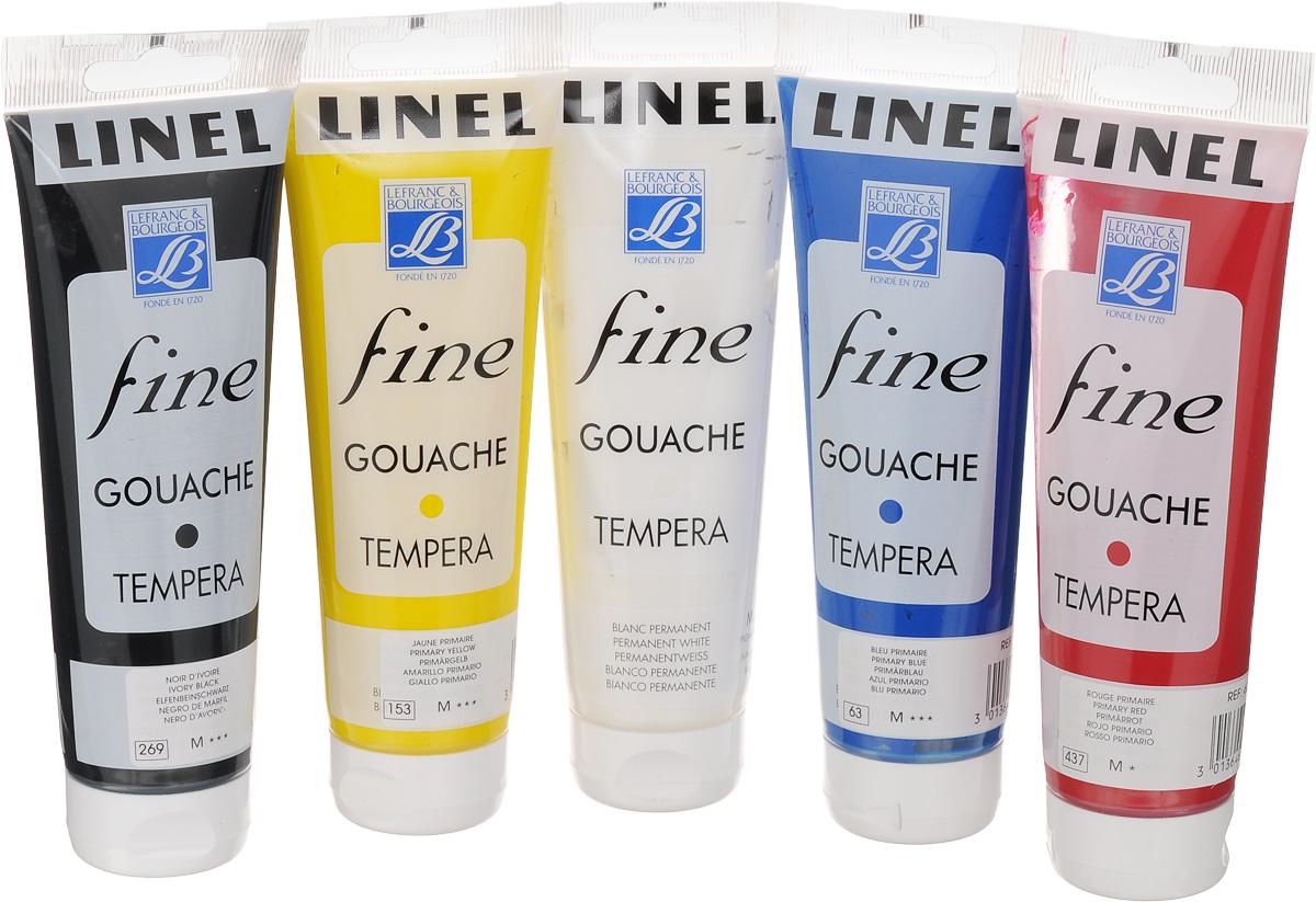 Набор гуаши Lefranc & Bourgeois Fine Linel, 120 мл, 5 штLF652901Набор Lefranc & Bourgeois Linel Fine состоит из гуаши 5 разных цветов в пластиковых тубах. Краски данной серии - одни из немногих в мире, которые до сих пор, как и в давние времена, содержат чистый гуммиарабик. Цвета имеют высочайшую светостойкость, поэтому могут быть использованы для достижения необходимого эффекта прозрачности. Благодаря своей укрывистости, краска обеспечивает огромные возможности и свободу действий при использовании различных техник, недостижимых для других водорастворимых красок.