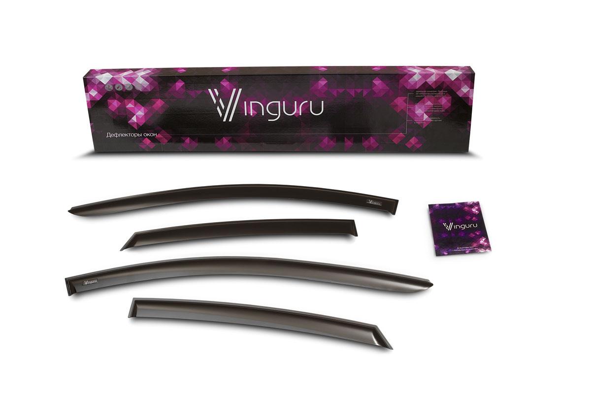 Комплект дефлекторов Vinguru, накладные, скотч, для Gaz Volga 2003-2010, 4 штAFV27903Комплект вставных дефлекторов Vinguru позволяет направить в салон поток чистого воздуха, защитив от дождя, снега и грязи, а также способствует быстрому отпотеванию стекол в морозную и влажную погоду. Дефлекторы улучшают обтекание автомобиля воздушными потоками, распределяя их особым образом. Дефлекторы Vinguru в точности повторяют геометрию автомобиля, легко устанавливаются, долговечны, устойчивы к температурным колебаниям, солнечному излучению и воздействию реагентов. Современные композитные материалы обеспечивают гибкость и устойчивость к механическим воздействиям. Каждый комплект упакован в пузырчатую защитную пленку, картонный короб и имеет праймер адгезии, оригинальный скотч 3М и подробную инструкцию по установке.