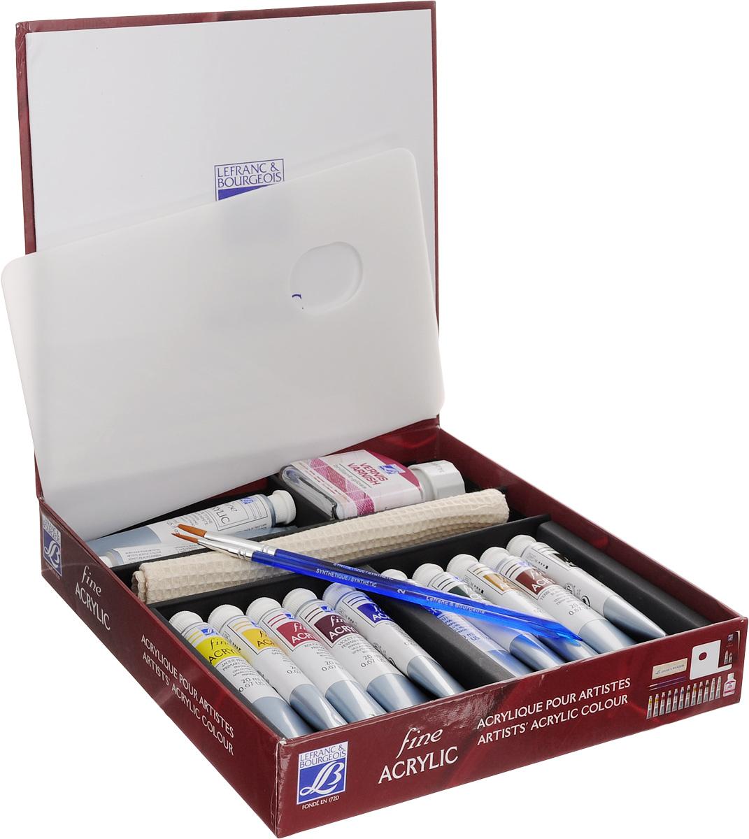 Набор акриловых красок Lefranc & Bourgeois Fine Artist, 17 предметовLF236153Набор Lefranc & Bourgeois Fine Artist включает 10 пластиковых тюбиков акриловой краски разных цветов, 2 тюбика белой краски Titanium White, глянцевый лак в стеклянной банке, 2 кисти №2 и №6, палитру для смешивания красок и полотенце для рук с вышитым логотипом. Краски могут использоваться на разнообразных поверхностях, разводятся в воде. Достаточно нанести один слой. При нанесении обеспечивают красивое покрытие с эффектом сатина. Объем красок: 20 мл. Количество цветов: 11. Объем лака: 75 мл. Размер полотенца: 18,5 х 19 см. Длина кистей: 18 см, 19 см. Размер палитры для смешивания красок: 23 х 15 см.