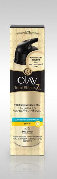 Olay Дневной крем для лица Total Effects 7в1, увлажняющий, для чувствительной кожи, SPF 15, 50 млOL-81290839Увлажняющий дневной крем Olay Total Effects 7в1 помогает укрепить естественный защитный барьер чувствительной кожи. Защищает барьер кожи от воздействий внешней среды, улучшает цвет и текстуру кожи. Витамины E, B и C, облепиха и белый чай бережно успокаивает, окутывает кожу и дарит ощущение заботы. Глицерин, масло какао и успокаивающий аллантоин усиливают синтез липидов, укрепляют удерживающий влагу барьер.Также сокращают покраснения. Дерматологически протестировано на чувствительной кожи. Без отдушек. Товар сертифицирован.