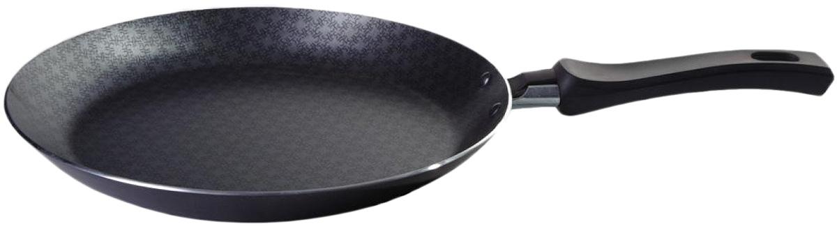 Сковорода блинная Vari Vita, цвет: черный. Диаметр 26 смВ52126Благодаря удачному сочетанию функциональных свойств и усиленного покрытия посуда серии Vita позволяет готовить низкокалорийную пищу за счет использования минимального количества жиров. Посуда выполнена из штампованного алюминия толщиной до 2,8 мм. Корпус быстро и равномерно разогревается, распределяет и удерживает тепло. Классическое сочетание цветов внешнего и внутреннего покрытия создадут атмосферу уюта и удачно дополнят интерьер любой кухни. Антипригарное покрытие Scandia - одно из самых популярных и качественных покрытий в среднем ценовом сегменте. Прекрасно зарекомендовало себя на протяжении долгих лет. Уникальные рисунок в виде сот выполняет не только декоративную функция, но и обеспечивает дополнительный усиленный антипригарный слой. Внешнее жаростойкое покрытие черного цвета с ярким перламутровым блеском.