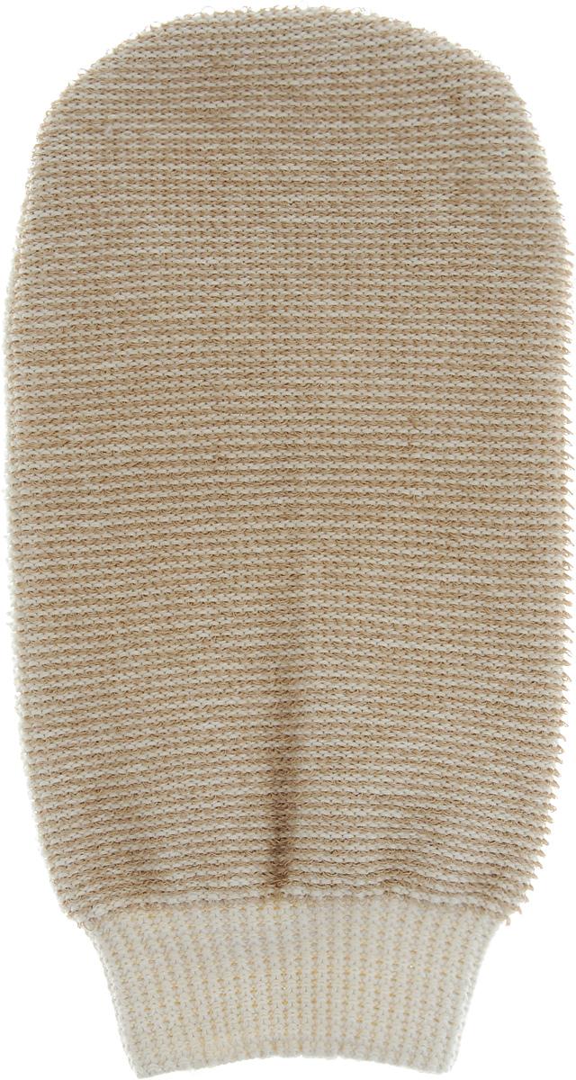 Мочалка-рукавица массажная Riffi, двухсторонняя, цвет: бежевый, 22 х 13 см407_бежевыйМочалка-рукавица Riffi выполнена из хлопка, полиэстера и полиэтилена. Она применяется для мытья тела, обладает активным пилинговым действием, тонизирует, массирует и эффективно очищает вашу кожу. Интенсивный и пощипывающий массаж с применением такой мочалкой усиливает кровообращение и улучшает общее самочувствие. Благодаря отшелушивающему эффекту, кожа освобождается от отмерших клеток, становится гладкой, упругой и свежей. Мочалка-рукавица Riffi приносит приятное расслабление всему организму. Борется с болями и спазмами в мышцах, а также эффективно предупреждает образование целлюлита. Товар сертифицирован.