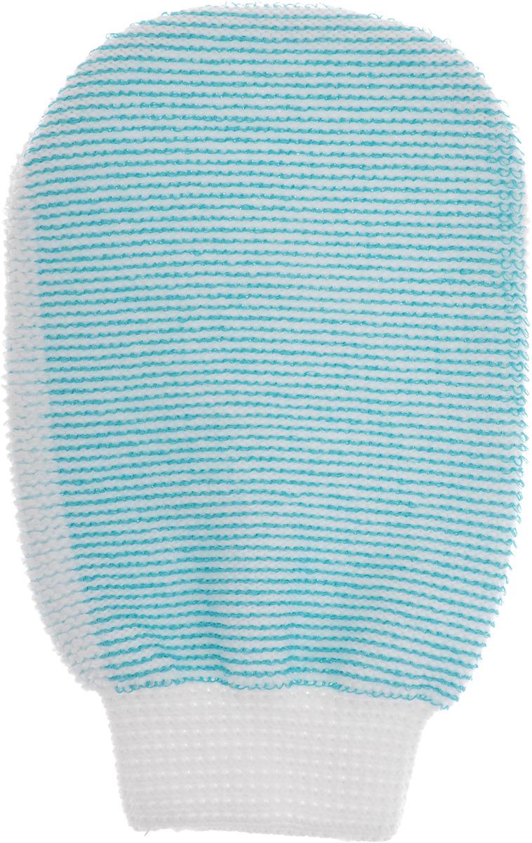 Мочалка-рукавица массажная Riffi, двухсторонняя, цвет: белый, бирюзовый, 22 х 13 см407_белый, бирюзовыйМочалка-рукавица Riffi выполнена из хлопка, полиэстера и полиэтилена. Она применяется для мытья тела, обладает активным пилинговым действием, тонизирует, массирует и эффективно очищает вашу кожу. Интенсивный и пощипывающий массаж с применением такой мочалкой усиливает кровообращение и улучшает общее самочувствие. Благодаря отшелушивающему эффекту, кожа освобождается от отмерших клеток, становится гладкой, упругой и свежей. Мочалка-рукавица Riffi приносит приятное расслабление всему организму. Борется с болями и спазмами в мышцах, а также эффективно предупреждает образование целлюлита. Товар сертифицирован.