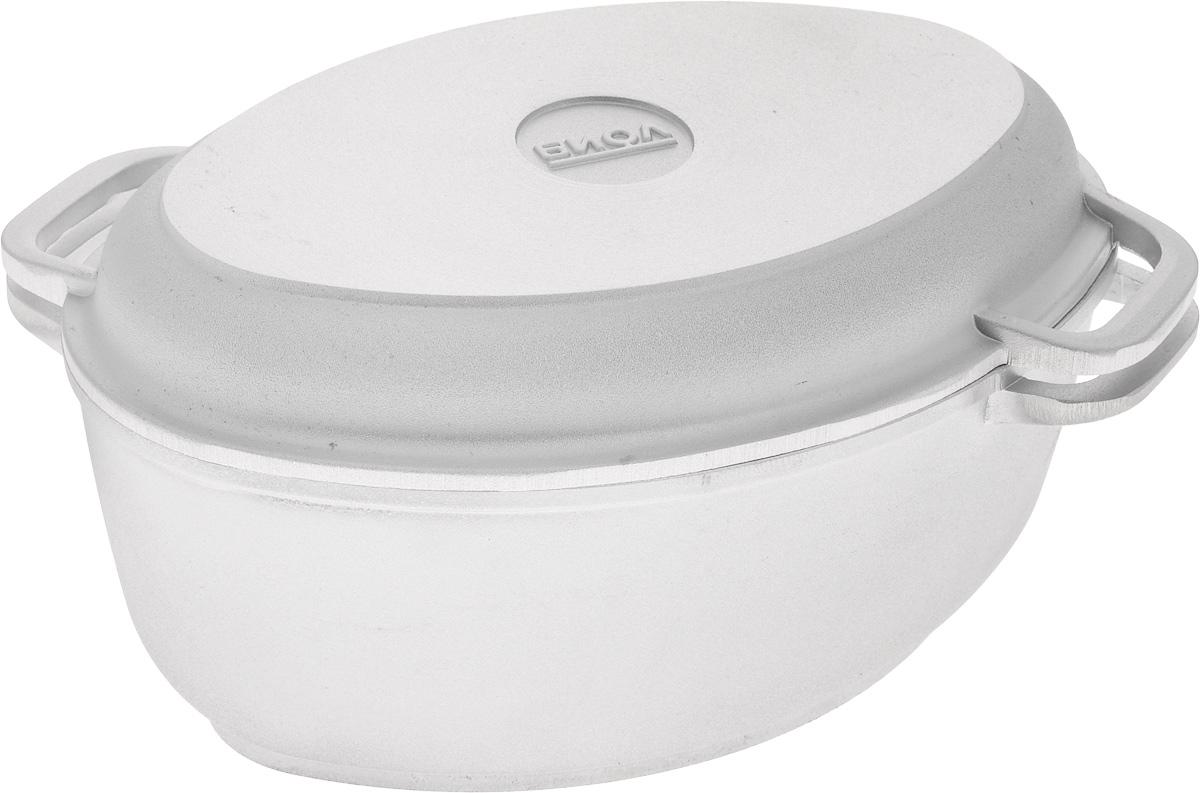 Гусятница Биол с крышкой-сковородой, 2,5 лГ301Гусятница Биол, выполненная из высококачественного литого алюминия, имеет утолщенное дно и оснащена крышкой. Благодаря особой конструкции корпуса в гусятнице замечательно готовить томленые блюда. Она равномерно прогревается и долго удерживает тепло. Приготовленное блюдо получается особенно вкусным, а в продуктах сохраняется больше полезных веществ. Гусятница не подвержена деформации, легко моется. Крышку гусятницы можно использовать как сковороду. Подходит для газовых, электрических и стеклокерамических плит. Не подходит для индукционных плит. Размер гусятницы (по верхнему краю): 26 х 17,5 см. Высота гусятницы (без учета крышки-сковороды): 10,5 см. Размер крышки-сковороды (по верхнему краю): 26,5 х 17,5 см. Высота крышки-сковороды: 3,5 см.