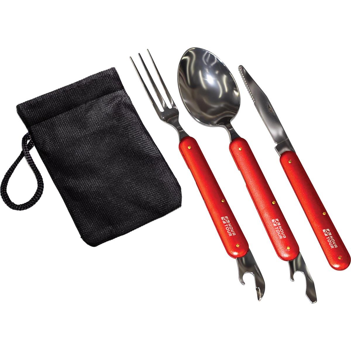 Набор столовых приборов складных NOVA TOUR ST-1, цвет: красный95787-001-00Компактный набор столовых приборов со складными ручками. Ложка и вилка имеют консервный нож. Набор укопмплектован тканевым мешочком.; Материал Нержавеющая пищевая сталь/пищевой алюминий Вес (кг) 0,14