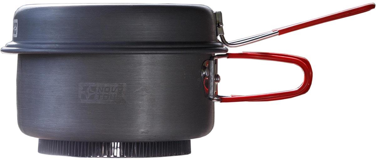 Кастрюля с крышкой-сковородой NOVA TOUR Инферно 1,7л, цвет: металлик, красный, 1,4л95805-000-00Универсальная кастрюля 3 в одном. Объемом 1,7л с радиаторным кольцом на дне, которое позволяет экономить до 50% топлива и уменьшить время приготовления пищи. Наличие складной ручки добавляет удобства при использовании, и не увеличивает объем занимаемый кастрюлей при траспортировки. Крышка-сковорода; Материал Анодированный алюминий Вес (кг) 0,5 Вместимость (л.) 1,7