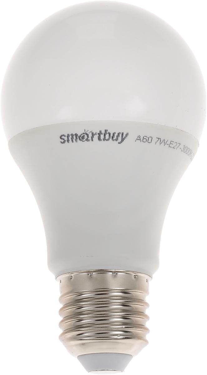 Лампа светодиодная Smartbuy, А60, теплый свет, цоколь Е27, 7 ВтSBL-A60-07-30K-E27-NСветодиодная лампа Smartbuy - энергосберегающая лампа общего освещения, подходит для замены стандартных ламп накаливания и галогенных. Благодаря своей экономичности, длительному сроку службы и экологичности светодиодные лампы выгодно отличаются от своих предшественников. Колба лампы матовая, грушевидной формы. Идеально подходит к любому светильнику, в котором используются данные типы ламп. В светодиодных лампах серии A60 применяются высокоэффективные светодиоды, обеспечивающие эффективность до 80 лм/Вт. При этом коэффициент цветопередачи ламп обеспечивается на уровне Ra>80. Особенности: - Хорошая цветопередача. - Отсутствие мерцания обеспечивает меньшую утомляемость глаз. - Высокоэффективный драйвер обеспечивает стабильную работу. - Устойчивость к механическому воздействию. - Большой срок службы - 30 000 часов работы. - Широкий рабочий температурный режим от -25° до +45°С. - Не содержит ртуть, экологически безопасна. ...