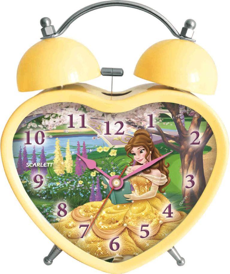 Будильник Scarlett. SC - ACD08PSC - ACD08PБудильник Scarlett с надежным кварцевым механизмом - это не только функциональное устройство, но и оригинальный элемент декора, который великолепно впишется в интерьер детской комнаты. Он снабжен четырьмя стрелками: часовой, минутной, секундной и стрелкой завода. Циферблат в форме сердца оформлен изображением прекрасной Белль из диснеевского мультфильма Красавица и Чудовище. Сверху будильника располагается механический звонок, работает до его отключения. Отличительной особенностью этого будильника является то, что он обладает плавным, бесшумным ходом. Будильник работает от 1 батарейки типа АА напряжением 1,5 В (батарейка в комплект не входит). Будильник Scarlett - это надежность, качество и изящность стиля во все времена.