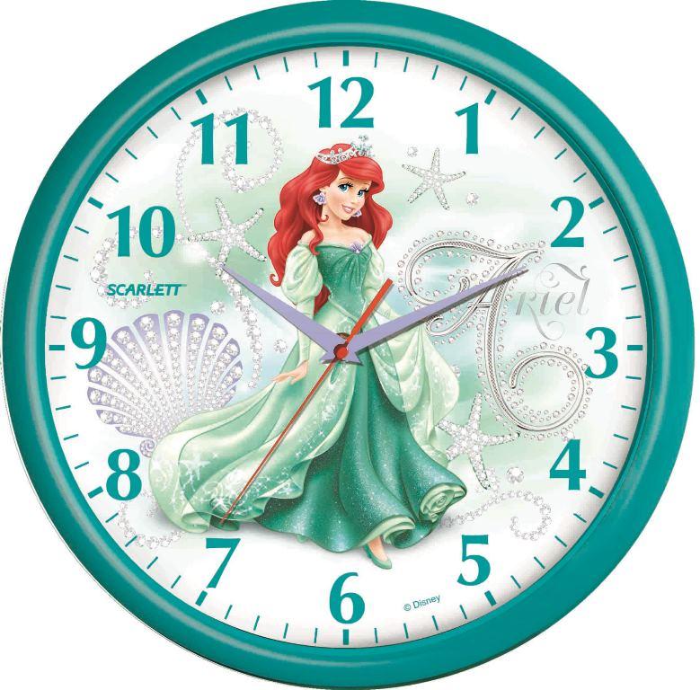 Детские часы Scarlett SC - WCD01PSC - WCD01PНастенные часы Дисней (Русалочка Ариэль), плавный ход