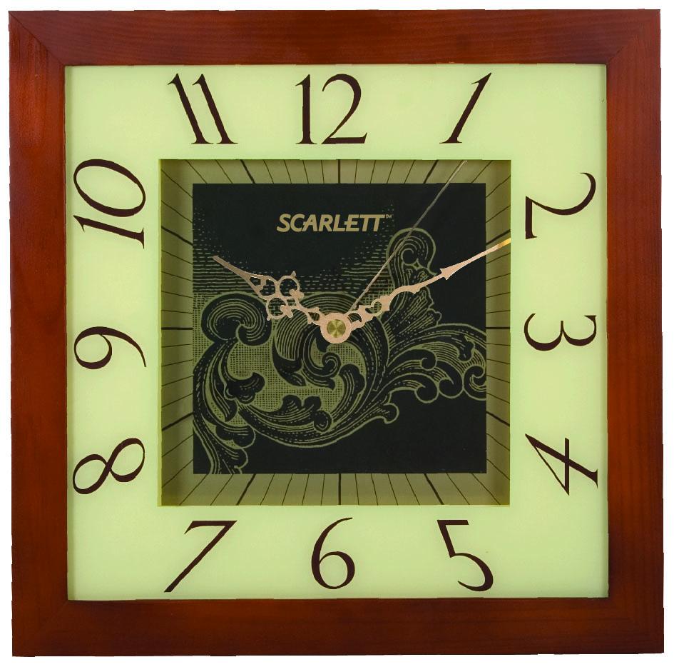 Часы настенные Scarlett, 32 х 32 см. SC - 33CSC - 33CНастенные кварцевые часы Scarlett в классическом дизайне, изготовленные из дерева, прекрасно впишутся в интерьер вашего дома. Квадратные часы имеют три стрелки: часовую, минутную и секундную, циферблат защищен прозрачным пластиком. Часы работают от 1 батарейки типа АА напряжением 1,5 В (батарейка в комплект не входит). Размер часов: 32 х 32 см.