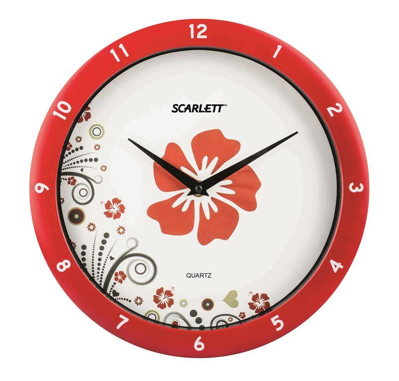 Интерьерные часы Scarlett SC - WC1003ISC - WC1003IНастенные часы, плавный ход, круглые, d 27.5 см