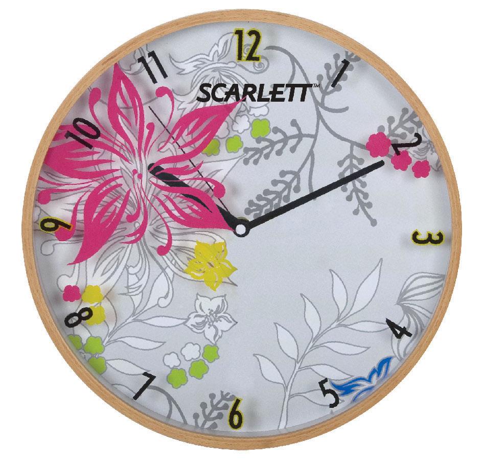 Часы настенные Scarlett, диаметр 30,5 см. SC - 33ASC - 33AНастенные кварцевые часы Scarlett, изготовленные из пластика, прекрасно впишутся в интерьер вашего дома. Круглые часы имеют три стрелки: часовую, минутную и секундную, циферблат защищен прозрачным пластиком. Часы работают от 1 батарейки типа АА напряжением 1,5 В (батарейка в комплект не входит). Диаметр часов: 30,3 см.