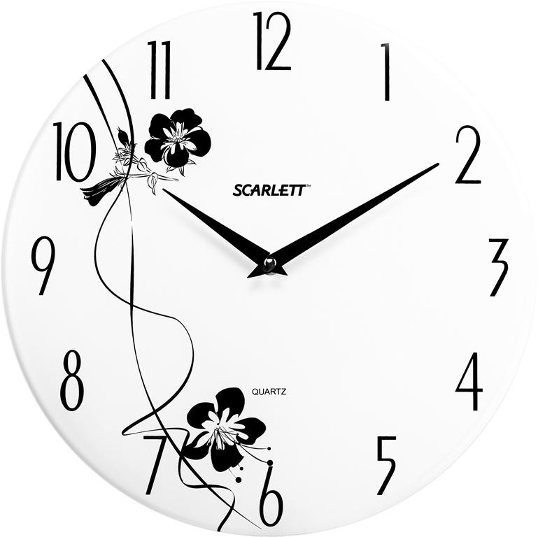 Часы настенные Scarlett, диаметр 33 см. SC - 25FSC - 25FНастенные кварцевые часы Scarlett, изготовленные из пластика, прекрасно впишутся в интерьер вашего дома. Круглые часы имеют две стрелки: часовую и минутную, циферблат защищен прозрачным пластиком. Часы работают от 1 батарейки типа АА напряжением 1,5 В (батарейка в комплект не входит). Диаметр часов: 33 см.