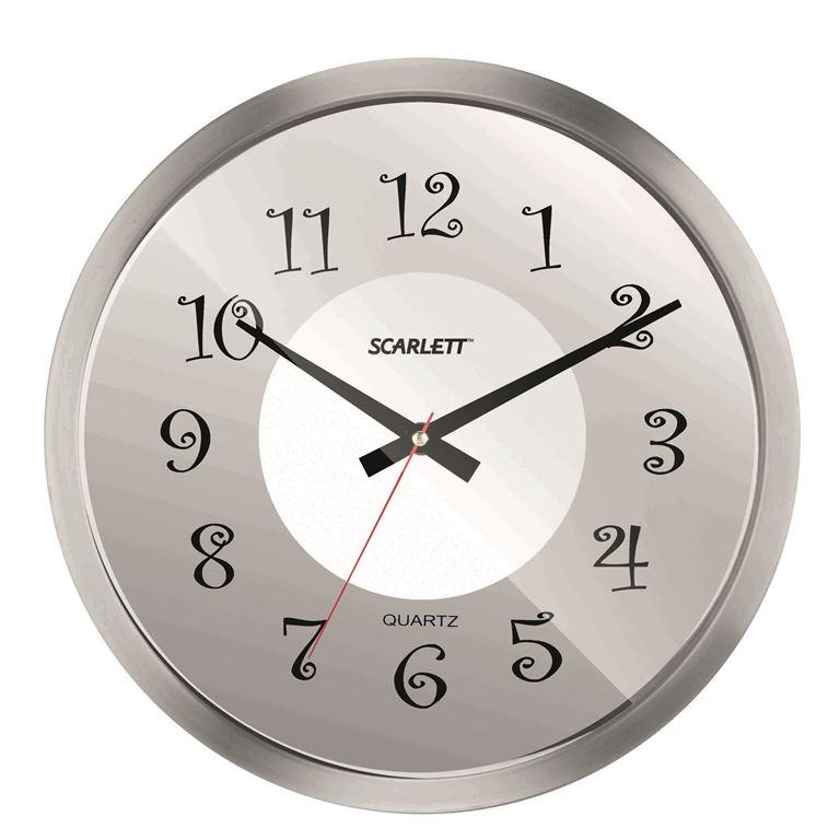 Часы настенные Scarlett, диаметр 30,5 см. SC - WC1004ISC - WC1004IНастенные кварцевые часы Scarlett, изготовленные из пластика, прекрасно впишутся в интерьер вашего дома. Круглые часы имеют три стрелки: часовую, минутную и секундную, циферблат защищен прозрачным пластиком. Часы работают от 1 батарейки типа АА напряжением 1,5 В (батарейка в комплект не входит). Диаметр часов: 30,5 см.