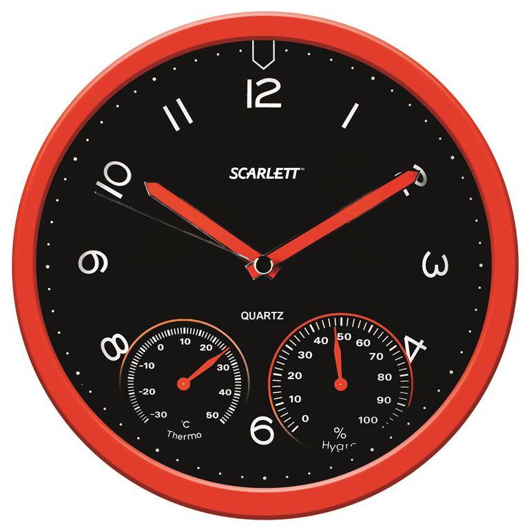 Часы настенные Scarlett, диаметр 31 см. SC - WC1011OSC - WC1011OНастенные кварцевые часы Scarlett в классическом дизайне, изготовленные из пластика, прекрасно впишутся в интерьер вашего дома. Круглые часы имеют три стрелки: часовую, минутную и секундную, циферблат защищен прозрачным пластиком. Часы работают от 1 батарейки типа АА напряжением 1,5 В (батарейка в комплект не входит). Диаметр часов: 31 см.