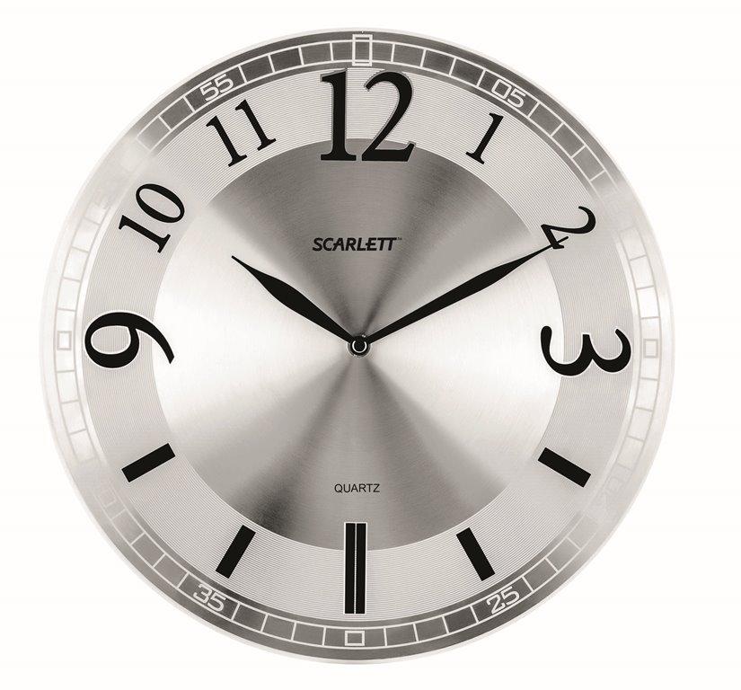 Часы настенные Scarlett, диаметр 30,3 см. SC - 55NSC - 55NНастенные кварцевые часы Scarlett, изготовленные из пластика, прекрасно впишутся в интерьер вашего дома. Круглые часы имеют три стрелки: часовую, минутную и секундную, циферблат защищен прозрачным пластиком. Часы работают от 1 батарейки типа АА напряжением 1,5 В (батарейка в комплект не входит). Диаметр часов: 30,3 см.