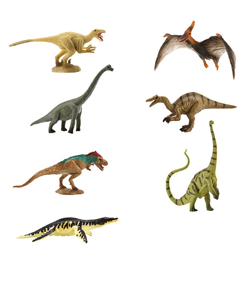 Collecta Набор фигурок Мини динозавры Коллекция 2A1134Коллекция динозавров из 7 шт в каждой упаковке. Высокая детализация и точность каждой фигурки. Размер пластикового кейса 27 х 5,5 х 4 см. Длина каждого динозавра от 6 до 12 см.