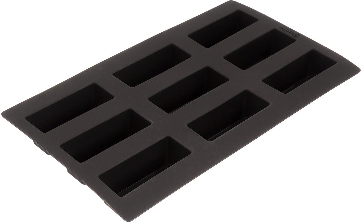 Форма для выпечки булочек Lekue, цвет: коричневый, 9 ячеек. 0620909М10M0170620909М10M017Форма для выпечки Lekue изготовлена из высококачественного силикона. Изделия из силикона очень удобны в использовании: пища в них не пригорает и не прилипает к стенкам, форма легко моется. Приготовленное блюдо можно очень просто вытащить, просто перевернув форму, при этом внешний вид блюда не нарушится. Изделие обладает эластичными свойствами: складывается без изломов, восстанавливает свою первоначальную форму. Форма содержит 9 ячеек. Порадуйте своих родных и близких любимой выпечкой в необычном исполнении. Подходит для приготовления в микроволновой печи и духовом шкафу при нагревании до +220°С, для замораживания до -60°С. Можно мыть в посудомоечной машине. Размер формы: 30 х 17,5 см. Размер ячейки: 8 х 3 см. Высота стенок: 3 см. Количество ячеек: 9 шт.