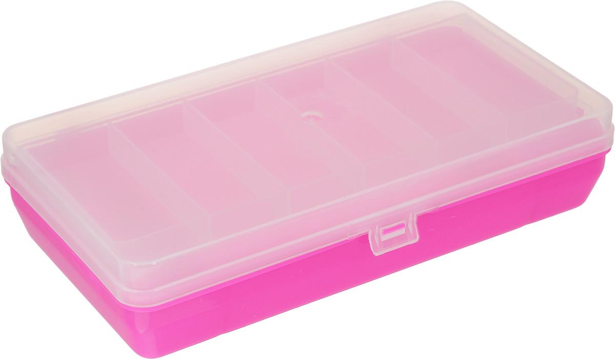 Коробка для мелочей Trivol, двухъярусная, с микролифтом, цвет: прозрачный, ярко-розовый, 21 х 11 х 4,5 см525826_розовыйКоробка для мелочей Trivol изготовлена из высококачественного пластика. Прозрачная крышка позволяет видеть содержимое коробки. Изделие имеет два яруса. Верхний ярус представляет собой съемное отделение, в котором содержится 6 прямоугольных ячеек. Нижний ярус имеет 3 ячейки разного размера. Коробка прекрасно подойдет для хранения швейных принадлежностей, рыболовных снастей, мелких деталей и других бытовых мелочей. Удобный замок-защелка обеспечивает надежное закрывание крышки. Коробка легко моется и чистится. Такая коробка поможет держать вещи в порядке. Размер малой ячейки: 3,5 х 8 х 1,5 см. Размер большой ячейки: 14 х 11 х 2,6 см.
