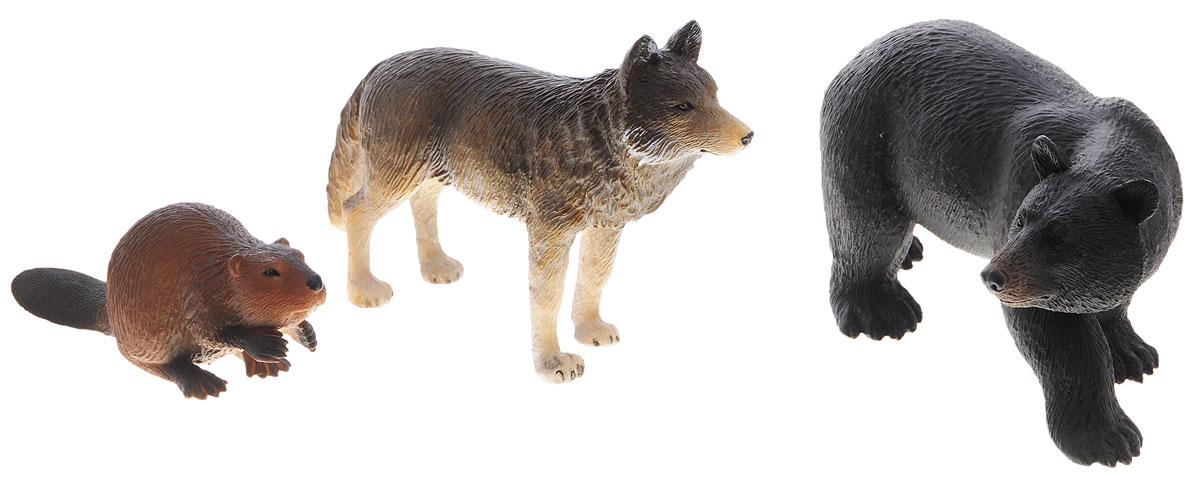 Mojo Набор фигурок Лесные животные Волк медведь бобер387330Набор фигурок Mojo Лесные животные познакомят вашего ребенка с окружающим миром. В набор входят три фигурки: волк, медведь и бобер, которые имеют высокую степень сходства с настоящими лесными животными и очень высокую детализацию, что позволяет использовать фигурки не только как игровые, но и как коллекционные. Кроме того, фигурки можно использовать в качестве наглядного пособия при изучении животного мира. Игры с фигурками животных развивают у ребенка творческие способности и расширяют возможности ролевых игр.