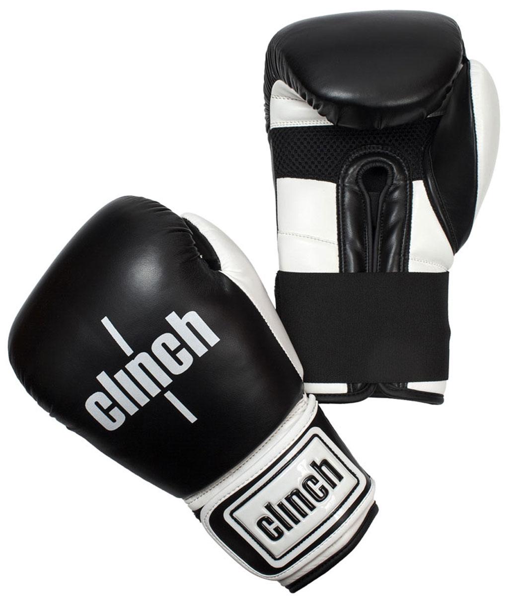 Перчатки боксерские Clinch Punch, цвет: черно-белый, 14 унций. C131C131Боксерские перчатки Punch. Изготовлены из высококачественного, прочного эластичного полиуретана. Многослойный пенный наполнитель обеспечивает улучшенную анатомическую посадку, комфорт и высокий уровень защиты. Широкая резинка позволяет оптимально фиксировать запястье.