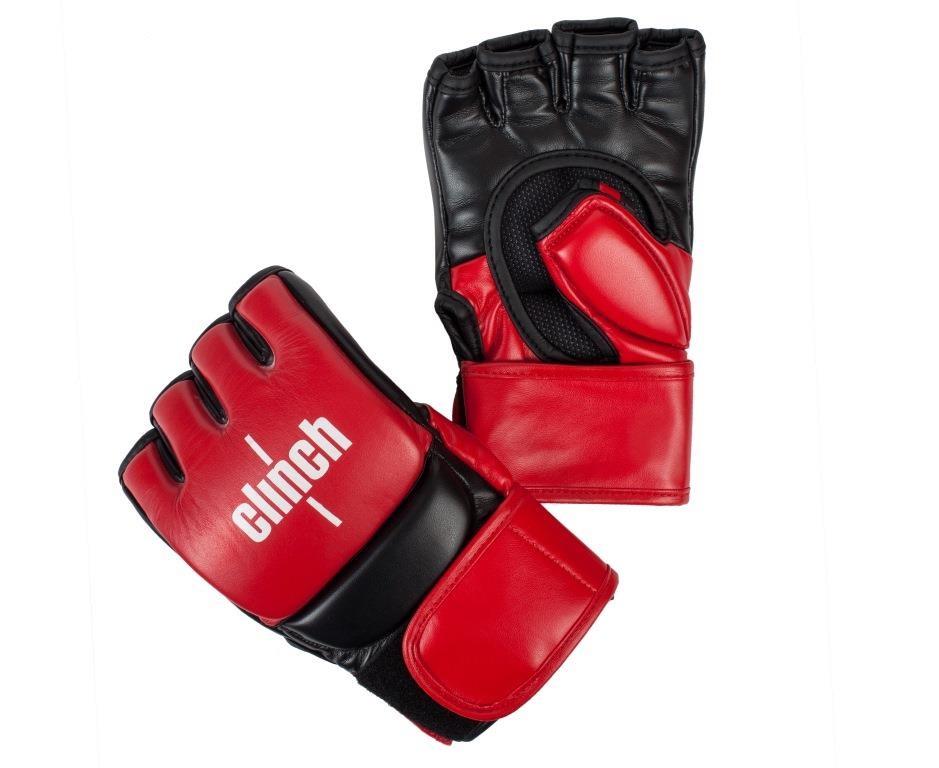 Перчатки для смешанных единоборств Clinch MMA, цвет: красно-черный. Размер: S/MC611Перчатки для смешанных единоборств Clinch MMA Combat. Ударная часть из натуральной кожи. Защита большого пальца. Длинная манжета на липучке.