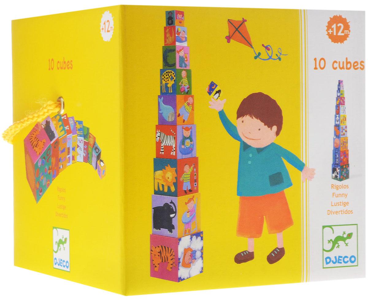 Djeco Кубики-пирамида Забавные кубики08503Кубики-пирамида Djeco Забавные кубики развивают координацию движений, мелкую моторику, пространственное мышление, помогут объяснить ребенку разницу цветов, форм и размеров, а также обучить счету. Кубики имеют разный размер что позволит малышу не только соорудить оригинальную башню, но и выстроить длинную дорожку, замыслить оригинальный лабиринт и компактно сложить их один в другой после окончания игры.