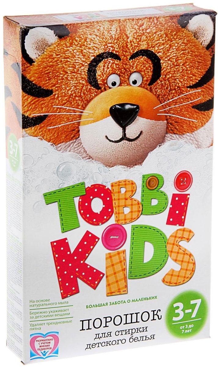 Tobbi Kids Стиральный порошок для детского белья от 3 до 7 лет 400 г891745Дети в возрасте от 3 до 7 лет активно развиваются и познают окружающий мир, что добавляет маме забот со стиркой. Чтобы справиться с загрязнениями, формула моющего средства должна быть эффективной, но одновременно с этим максимально безопасной, поэтому обычные взрослые стиральные порошки детям не подходят. Формула Tobbi Kids от 3 до 7 лет разработана с учетом рекомендаций педиатров и отвечает самым высоким требованиям безопасности. На основе натурального мыла и соды. Эффективен против пятен от фруктов и овощей, чернил, фломастеров, гуаши, бульонов, молочных каш, земли и травы. Гипоаллергенный и бесфосфатный. Состав: мыло хозяйственное, неионогенное ПАВ, анионное ПАВ, натрия перкарбонат, сода кальцинированная, усилитель отбеливателя, натрий карбоксиметилцеллюлоза, акремон В1, энзимы, отдушка, натрий сернокислый.