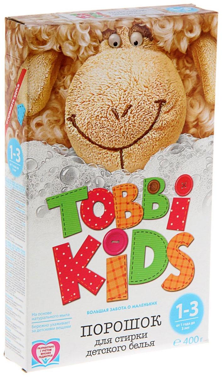 Tobbi Kids Стиральный порошок для детского белья от 1 до 3 лет 400 г891738Стиральный порошок для детского белья Tobbi Kids изготовлен из натурального мыла, отлично справляющегося со следами от пюре и соков. Дети в возрасте от 1 года до 3 лет очень чувствительны к аллергенам и активным веществам в составе моющего средства, из-за чего взрослые стиральные порошки им не подходят. Однако характер загрязнений на одежде в процессе взросления меняется, поэтому стиральный порошок должен быть не только безопасным, но и более эффективным, чем в первые месяцы жизни. Формула Tobbi Kids от 1 до 3 лет разработана с учетом рекомендаций педиатров и отвечает самым высоким требованиям безопасности. Предназначен для стирки детского белья из хлопчатобумажных, льняных и смешанных тканей в стиральных машинах любого типа. Допускается применение для ручной стирки. Состав: мыло хозяйственное, неионогенное поверхностно-активное вещество, натрия перкарбонат, натрий триполифосфат, сода кальцинированная, натрий карбоксиметилцеллюлоза, усилитель...
