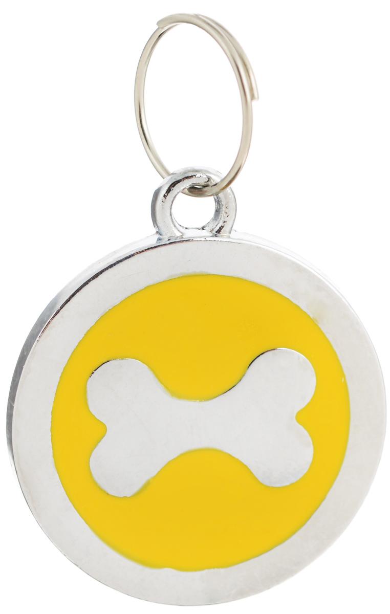 Адресник V.I.Pet Косточка, цвет: желтый, диаметр 25 мм11002_желтыйАдресник-косточка V.I.Pet Косточка выполнен из нержавеющей стали. Жетон - это важное дополнение к любому ошейнику. Разнообразие дизайнов адресников V.I.Pet поможет вам подчеркнуть индивидуальность вашего питомца и оставить на ошейнике полезную информацию. Оригинальный жетон-адресник для собаки или кошки выдержит все приключения вашего питомца! Надежное кольцо для крепления жетона к ошейнику в комплекте.