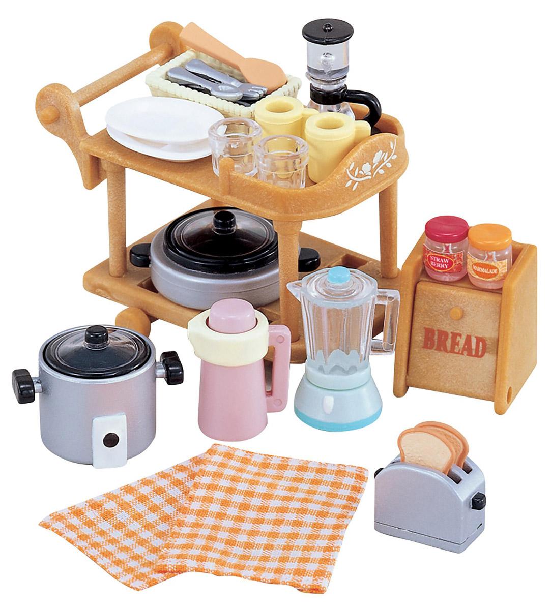 Sylvanian Families Игровой набор Кухонная посуда2819Игровой набор Sylvanian Families Кухонная посуда привлечет внимание вашей малышки и не позволит ей скучать. Набор включает в себя тележку для кухонной посуды, кастрюли, блендер, тостер, хлебницу и другие кухонные приборы и принадлежности. Ваша малышка будет часами играть с набором, придумывая различные истории. Sylvanian Families - это целый мир маленьких жителей, объединенных общей легендой. Жители страны Sylvanian Families - это кролики, белки, медведи, лисы и многие другие. У каждого из них есть дом, в котором есть все необходимое для счастливой жизни. В городе, где живут герои, есть школа, больница, рынок, пекарня, детский сад и множество других полезных объектов. Жители этой страны живут семьями, в каждой из которой есть дети. В домах Sylvanian Families царит уют и гармония. Домашние животные радуют хозяев. Здесь продумана каждая мелочь, от одежды до мебели и аксессуаров.