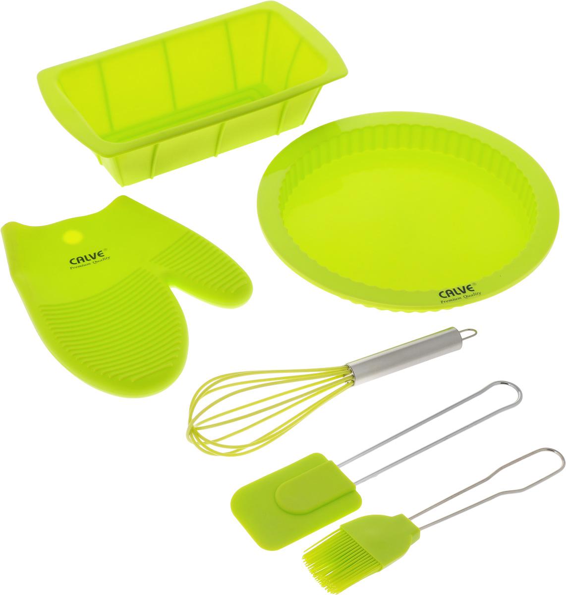 Набор для выпечки Calve, цвет: салатовый, 6 предметовCL-4608Набор для выпечки Calve состоит из формы для пирога, формы для кекса, прихватки-варежки, венчика, лопатки и кисточки. Это самые востребованные приборы для приготовления выпечки. Все предметы набора выполнены из высококачественного и термостойкого силикона. Ручки лопатки, кисточки и венчика выполнены из нержавеющей стали. Изделия безопасны для посуды с антипригарным и керамическим покрытием. Формы для выпечки можно использовать в духовых шкафах и микроволновых печах, морозильных камерах и мыть в посудомоечной машине. Набор для выпечки Calve станет отличным дополнением к коллекции ваших кухонных аксессуаров. Размер формы для кекса: 26 х 14 х 6,5 см. Диаметр формы для пирога: 25,5 см. Размер рабочей поверхности лопатки: 8,5 х 6 х 1 см. Длина лопатки: 25 см. Длина ворса кисти: 4 см. Длина кисти: 21 см. Размер прихватки-варежки: 22 х 17 х 2 см. Размер венчика: 7 х 7 х 25 см.