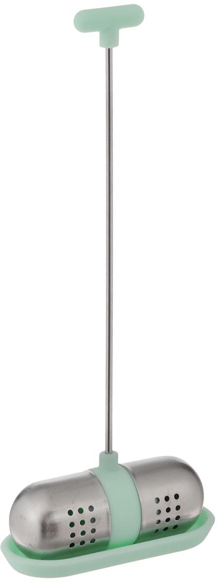 Ситечко для чая Apollo Nautilus, с подставкой, цвет: зеленыйNTS-01Ситечко Apollo Nautilus прекрасно подходит для заваривания любого вида чая. Изделие выполнено из силикона и нержавеющей стали. Изделием очень легко пользоваться. Просто насыпьте заварку внутрь и погрузите на дно кружки. Ситечко снабжено металлическим держателем с силиконовым наконечником. Забавная и приятная вещица для вашего домашнего чаепития. Не рекомендуется мыть в посудомоечной машине. Размер фигурки: 5,5 х 2 х 2 см. Размер подставки: 5,5 х 2,5 х 0,5 см. Длина ручки: 12 см.