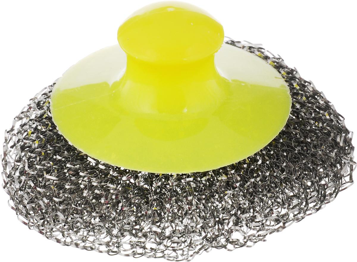 Мочалка для посуды Хозяюшка Мила, металлическая, с пластиковой ручкой, цвет: стальной, желтый02015Металлическая мочалка для посуды Хозяюшка Мила эффективно устраняет сильные загрязнения. Имеет долгий срок службы, не окисляется. Пластиковая ручка защищает руки от повреждений и обеспечивает комфорт при мытье. Прекрасно справляется с очисткой грилей, барбекю, решеток и других предметов для жарки. Не используйте для мытья посуды с антипригарным покрытием.