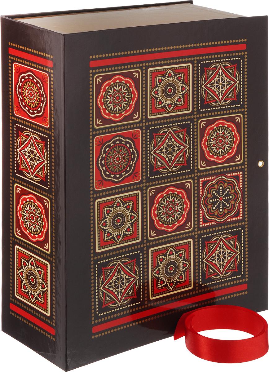 Коробка подарочная Правила Успеха Арабеска, 26 х 36 х 10 см4610009210780Подарочная коробка Правила Успеха Арабеска изготовлена из плотного ламинированного картона. Крышка изделия украшена изысканными узорами в восточном стиле. Такая коробка прекрасно подойдет в качестве подарочной, а также для хранения различных бытовых мелочей. Закрывается с помощью красной атласной ленточки.