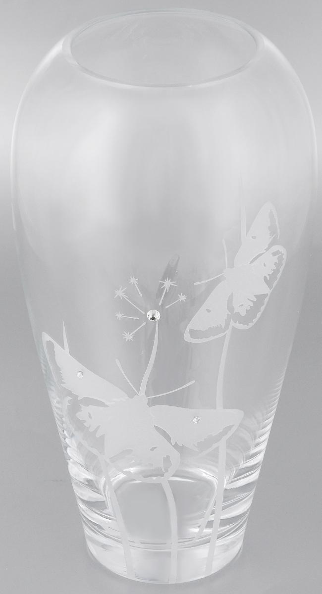 Ваза Deco Glass Бабочки, высота 32 смD4235/0300/X2546ALВаза Deco Glass Бабочки, выполненная из прозрачного стекла, оформлена гравировкой в виде бабочек и декорирована изящными кристаллами. Вазу можно использовать как декоративный элемент, поставить в нее букет прекрасных цветов или декоративных веточек. Изящная ваза Deco Glass Бабочки станет великолепным подарком на любой праздник. Высота: 32 см. Диаметр вазы (по верхнему краю): 10 см. Диаметр основания: 8,5 см.