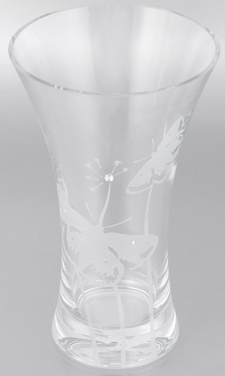 Ваза Deco Glass Бабочки, высота 25,5 смD4084/0250/X2544ALВаза Deco Glass Бабочки, выполненная из прозрачного стекла, оформлена гравировкой в виде бабочек и декорирована изящными кристаллами. Вазу можно использовать как декоративный элемент, поставить в нее букет прекрасных цветов или декоративных веточек. Изящная ваза Deco Glass Бабочки станет великолепным подарком на любой праздник. Высота: 25,5 см. Диаметр вазы (по верхнему краю): 15 см. Диаметр основания: 10 см.